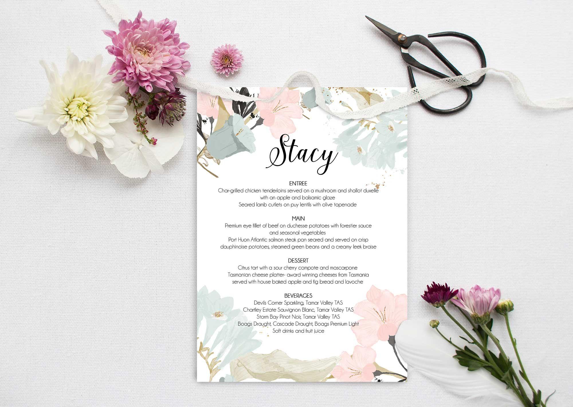 Floral Wedding Menu   My Wedding stationery by Emmy Designs ...