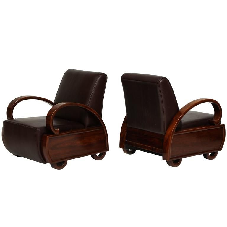 Chinese Deco Leather And Wood Lounge Chairs 1920s 1930s Wood