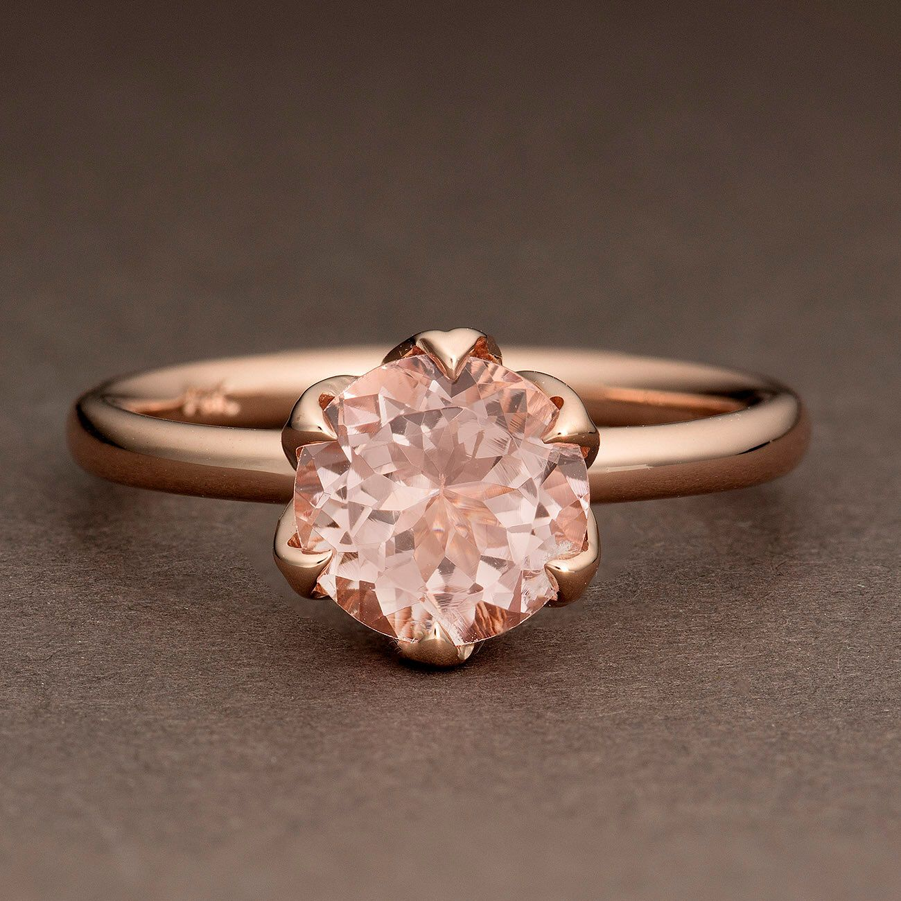 Kunzite Rose Gold Ring, Pink Stone Ring, Tulip Flower