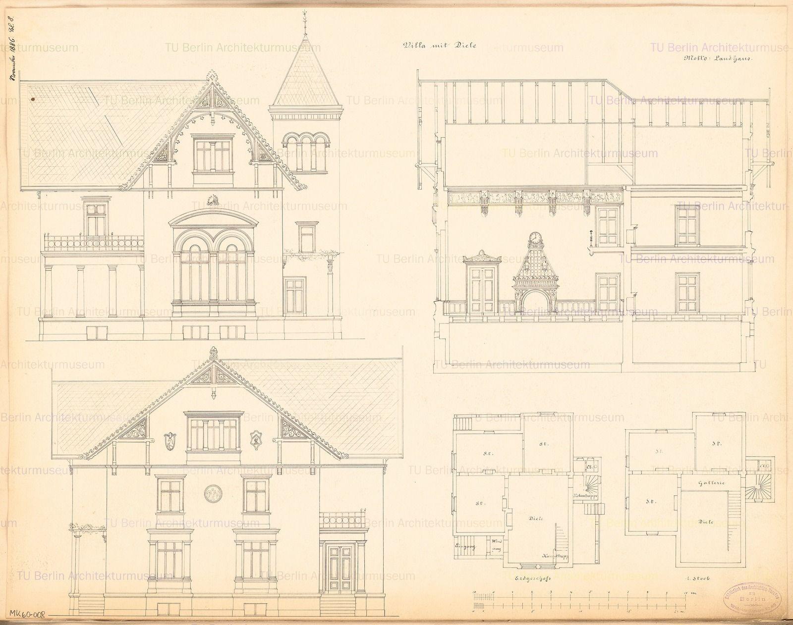 Grundriss Erdgeschoss, Obergeschoss, Aufriss Vorderansicht