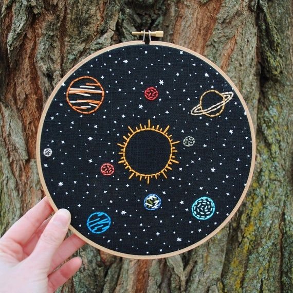 Space Embroidery Art, hand stitched Solar System - 8 hoop, Sun and planets in orbit, stars