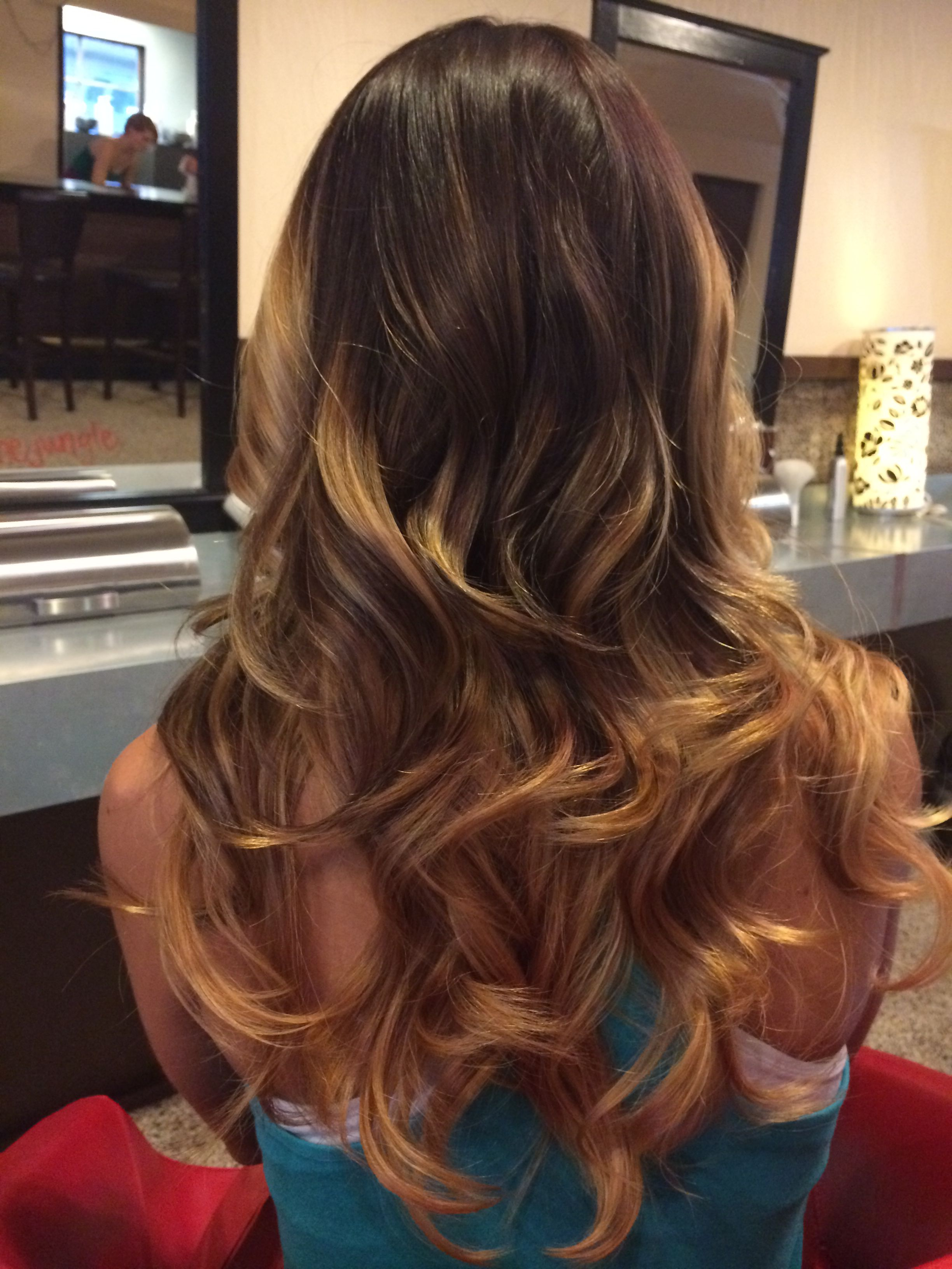 Ombre Hair Color Golden Blonde Highlights With A Light Brown Base