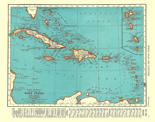 vintage map of west indies | Tropical, British Colonial, and West ...