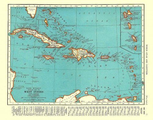 Vintage Map Of West Indies