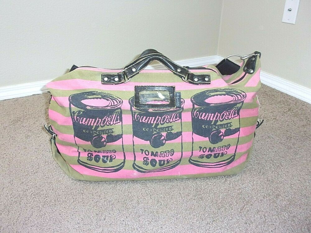 Andy Warhol Campbells Tomato Soup Duffle Bag Pink Green Andywarhol Duffel Pink Bag Bags Purses And Bags