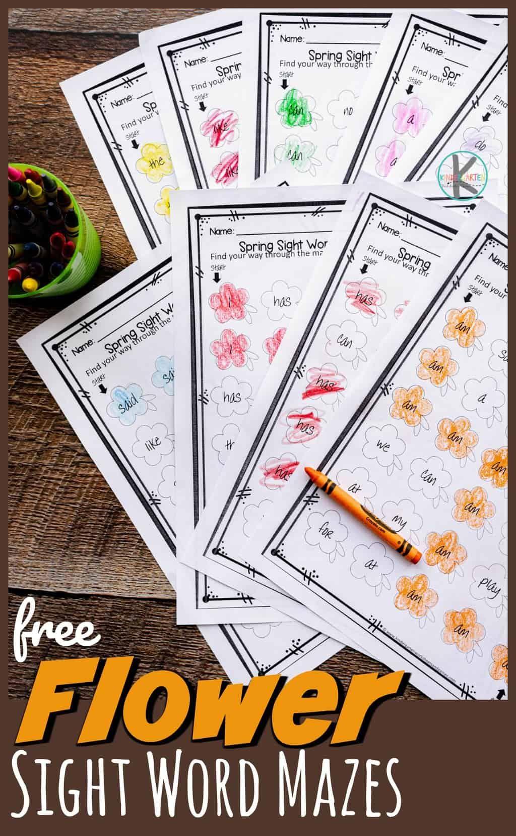 Free Flower Sight Word Maze In