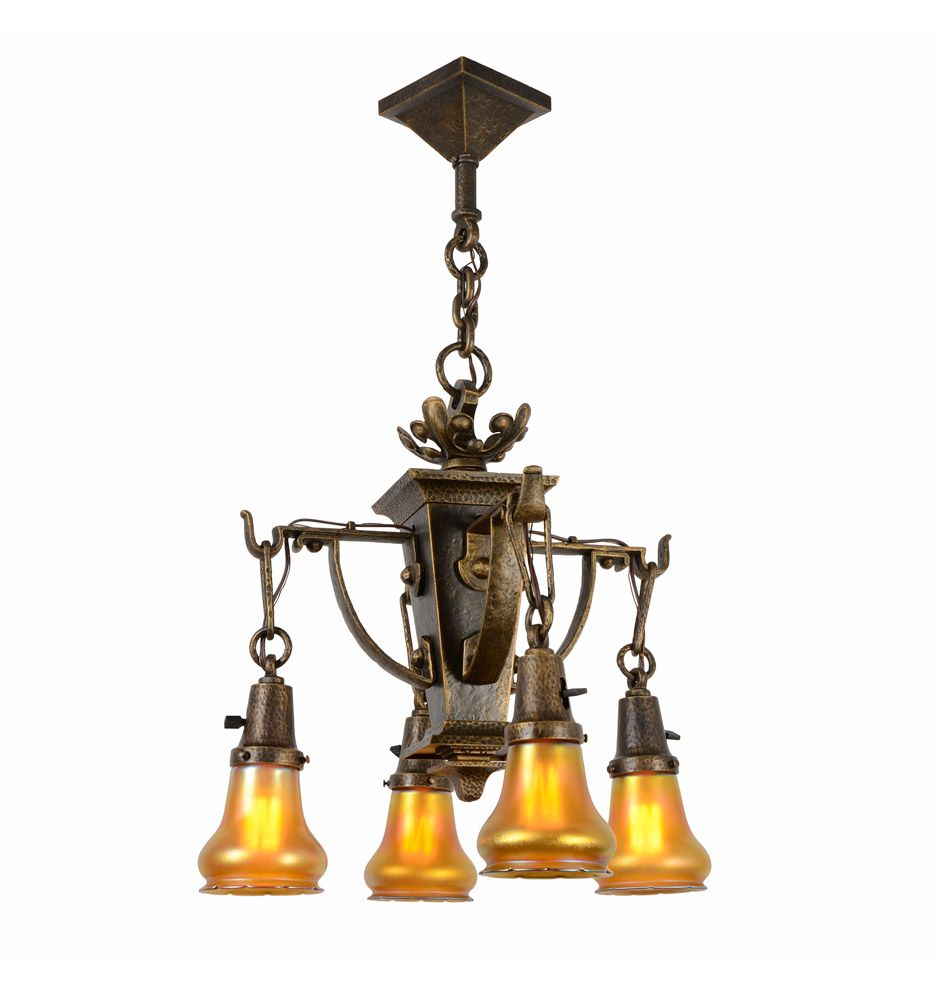 Ornate American Arts And Crafts Chandelier With Quezal Shades C1915 Rejuvenation