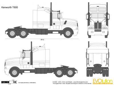 Vector Drawing Kenworth T600 Kenworth Wooden Toy Trucks Big Rig Trucks