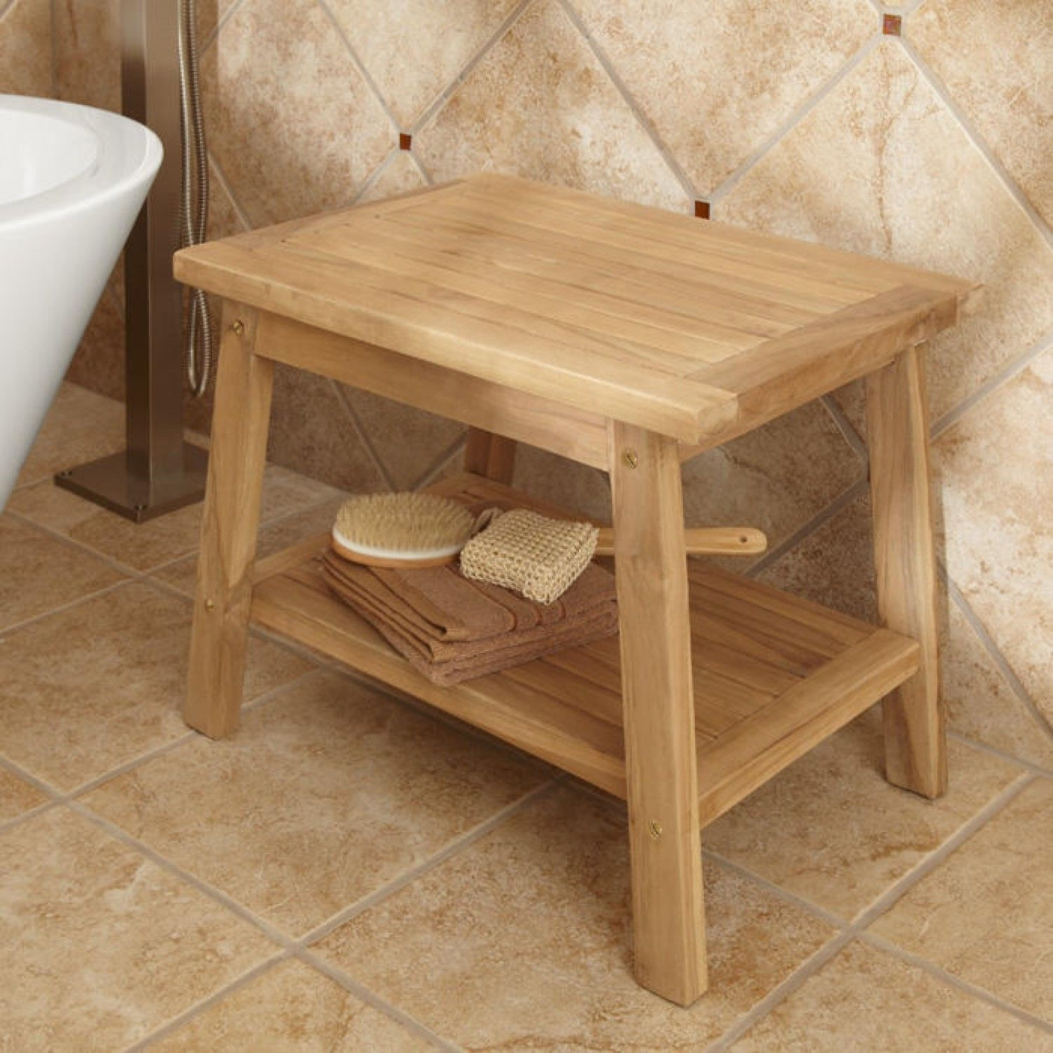 Teak Shower Stool with Shelf - ADA Compliant | Teak shower stool ...
