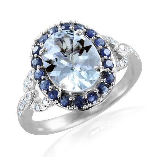 Oval Diamond Sapphire & Aquamarine Engagement Ring - Here\'s a very simple,  colorful & elegant