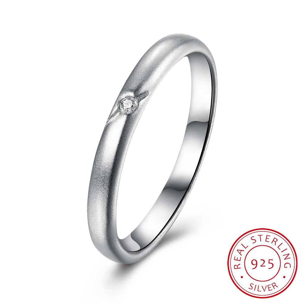7b74379056 925 Sterling Silver Ring Fashion elegant flat ring simple boutique diamond  jewelry