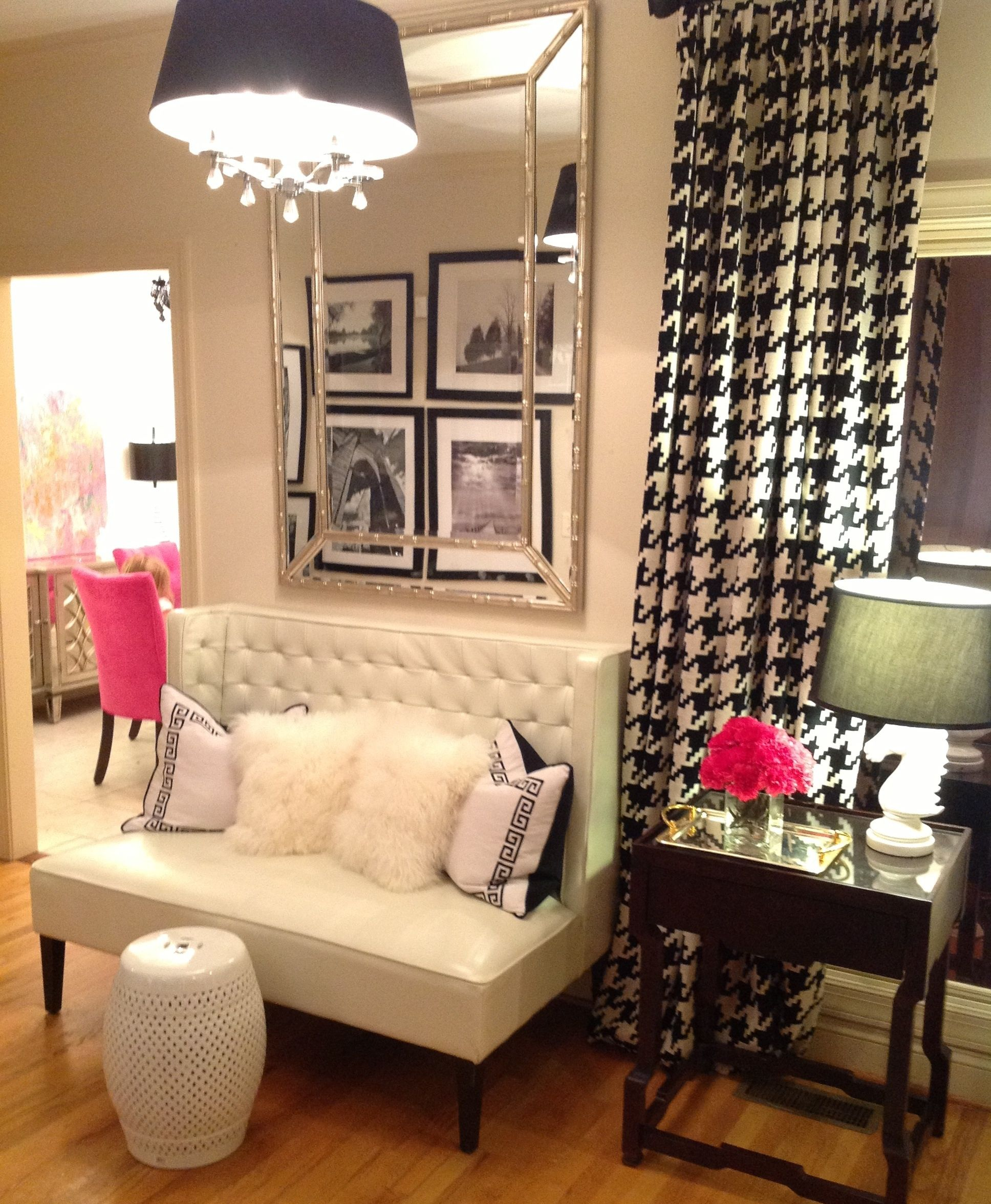 Black White Pink Loves It All Houndstooth Drapes Greek Key And Furry Pillows Fab Mirror Glam Seating