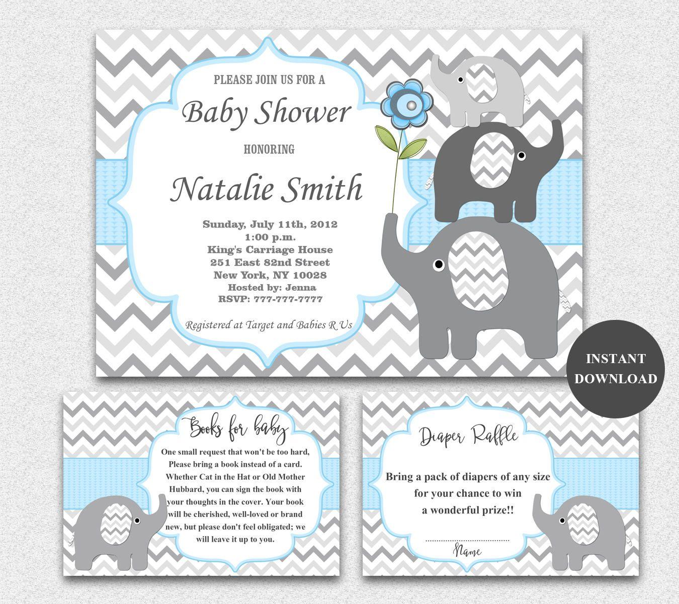 Elephant Baby Shower Invitations Boy Blue Grey Bookcard Inserts ...