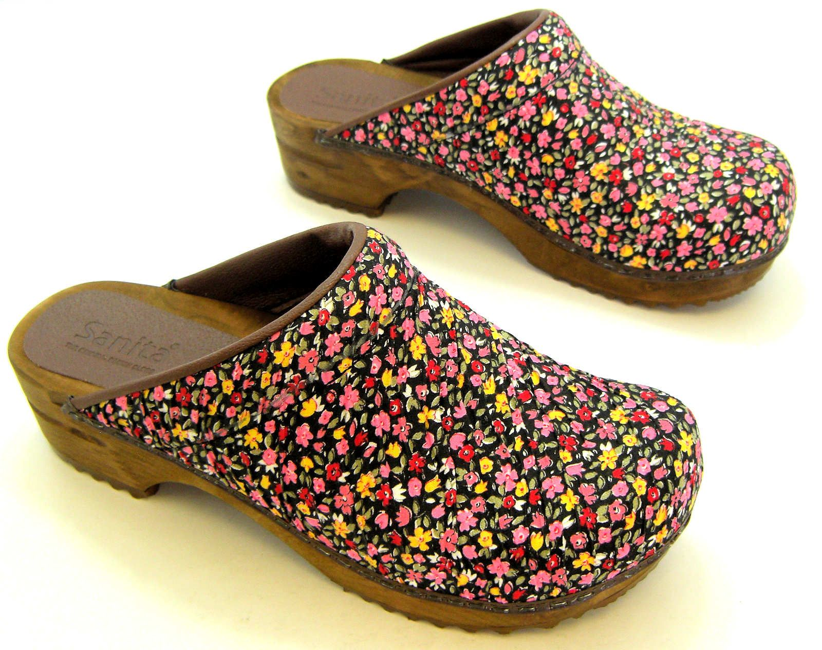 WOMENS SANITA FLORAL FLOWER SLIP ON MULES CLOGS SANDALS