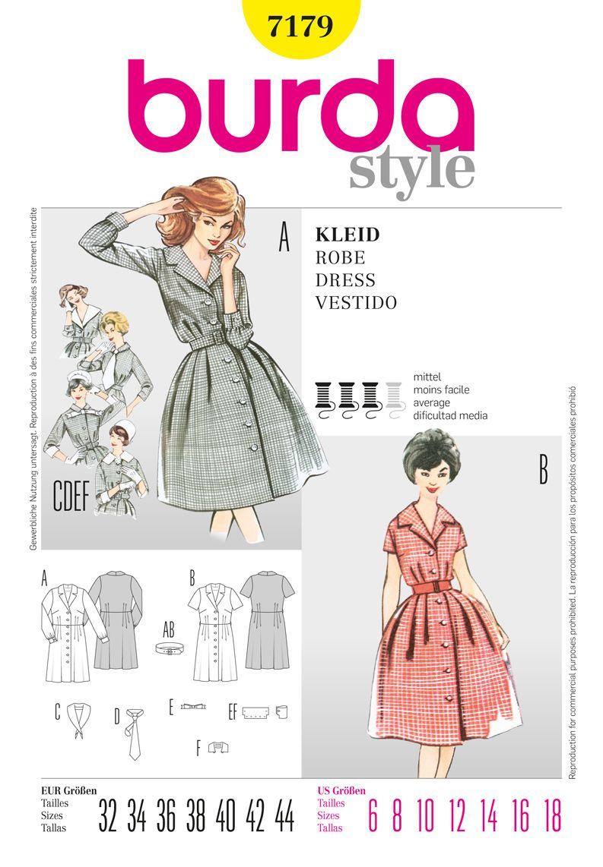 Burda 7179 Classic vintage shirt dress . | Sewing | Pinterest ...