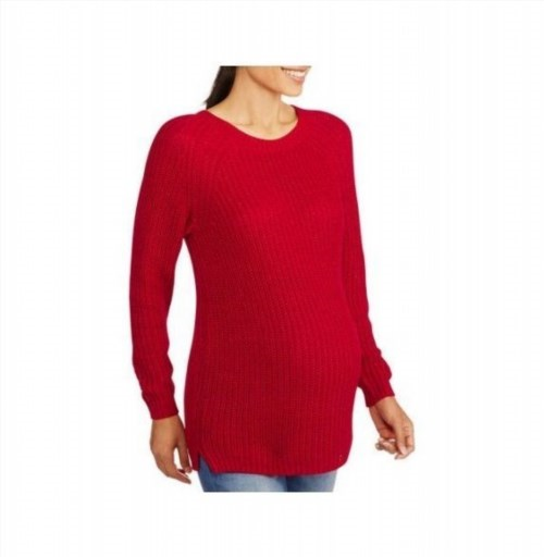 12.90$  Watch now - http://vicvd.justgood.pw/vig/item.php?t=bakv5j25643 - Faded Glory Maternity Ribbed Crewneck Pullover Sweater, Small, Red Sparkle
