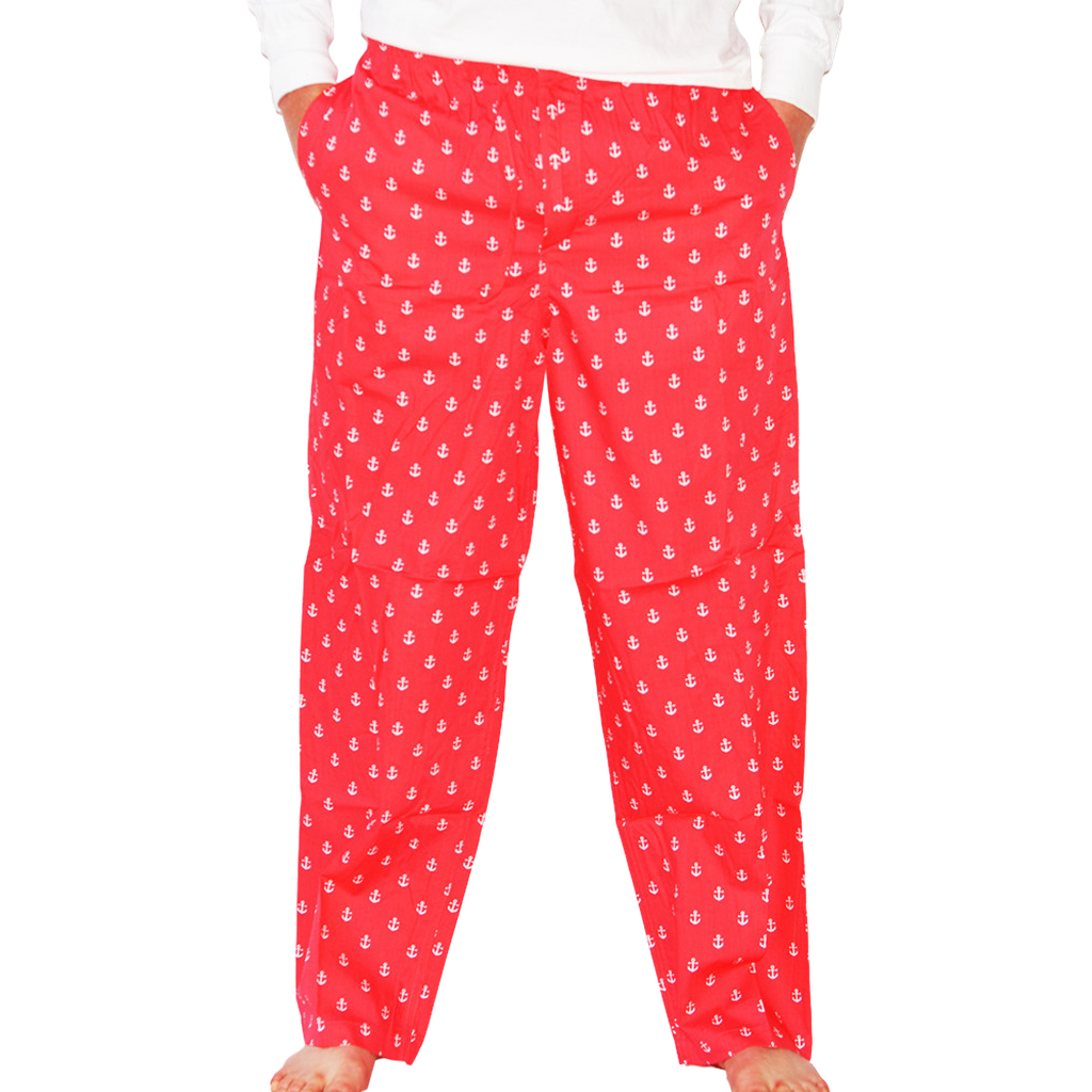 Red flannel pajama pants  Anchor PJ Bottoms  Port Coral Red  Pj and Products