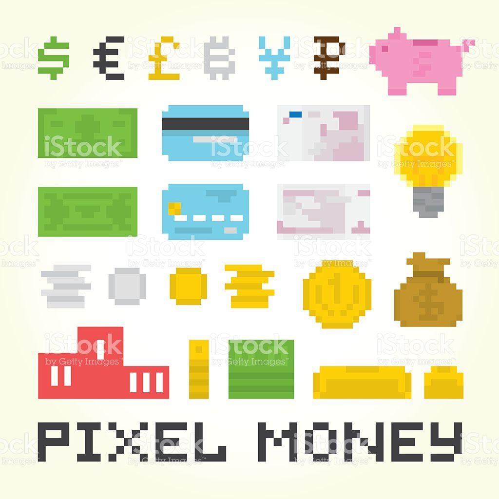 Pixel arte conjunto de vetor de dinheiro vetor e ilustração royalty-free royalty-free