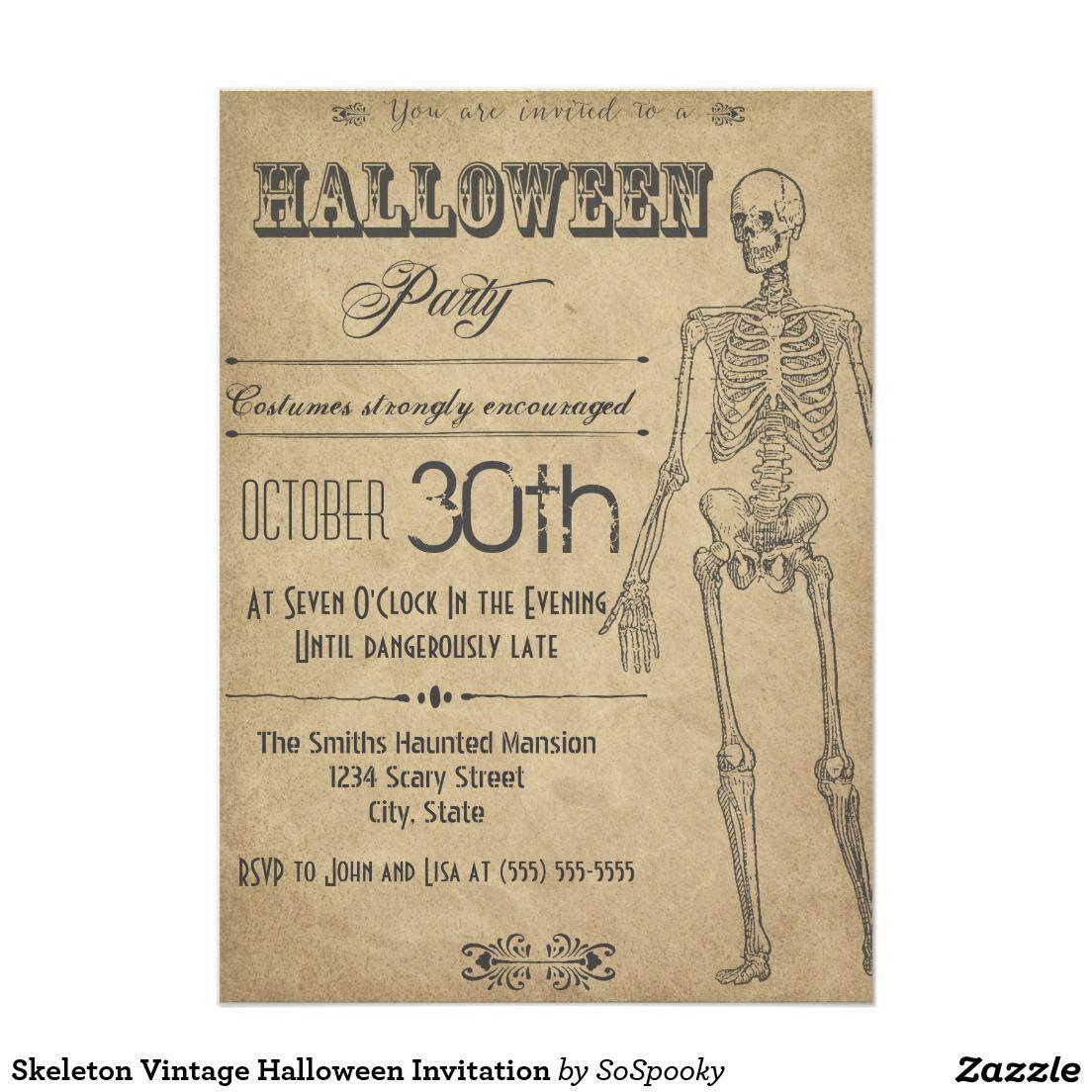 Skeleton vintage halloween invitation halloween invitations skeleton vintage halloween invitation stopboris Images
