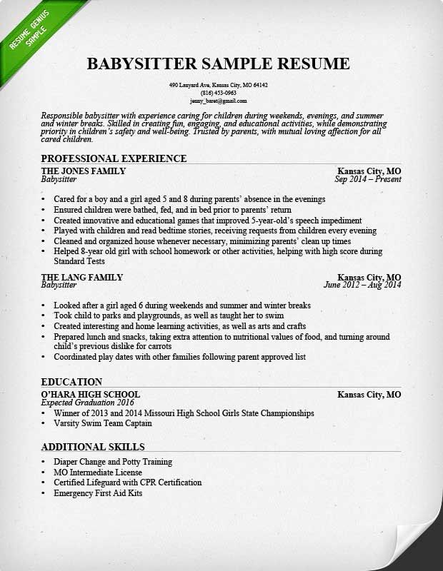 Babysitter Resume Sample  School    Sample Resume