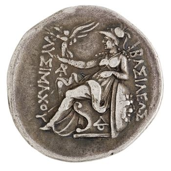Tetradrachm 297 281 Bc Reverse Athena Seated Holding A Winged