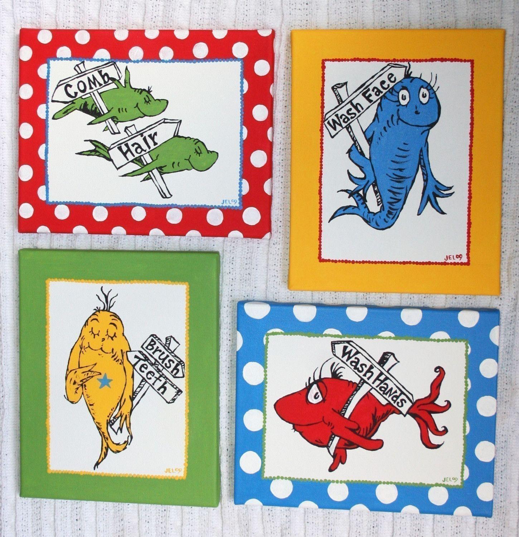 Marvelous One Fish, Two Fish Inspired SET OF 4 Dr. Seuss CUSTOM PAINTINGS Bathroom Set