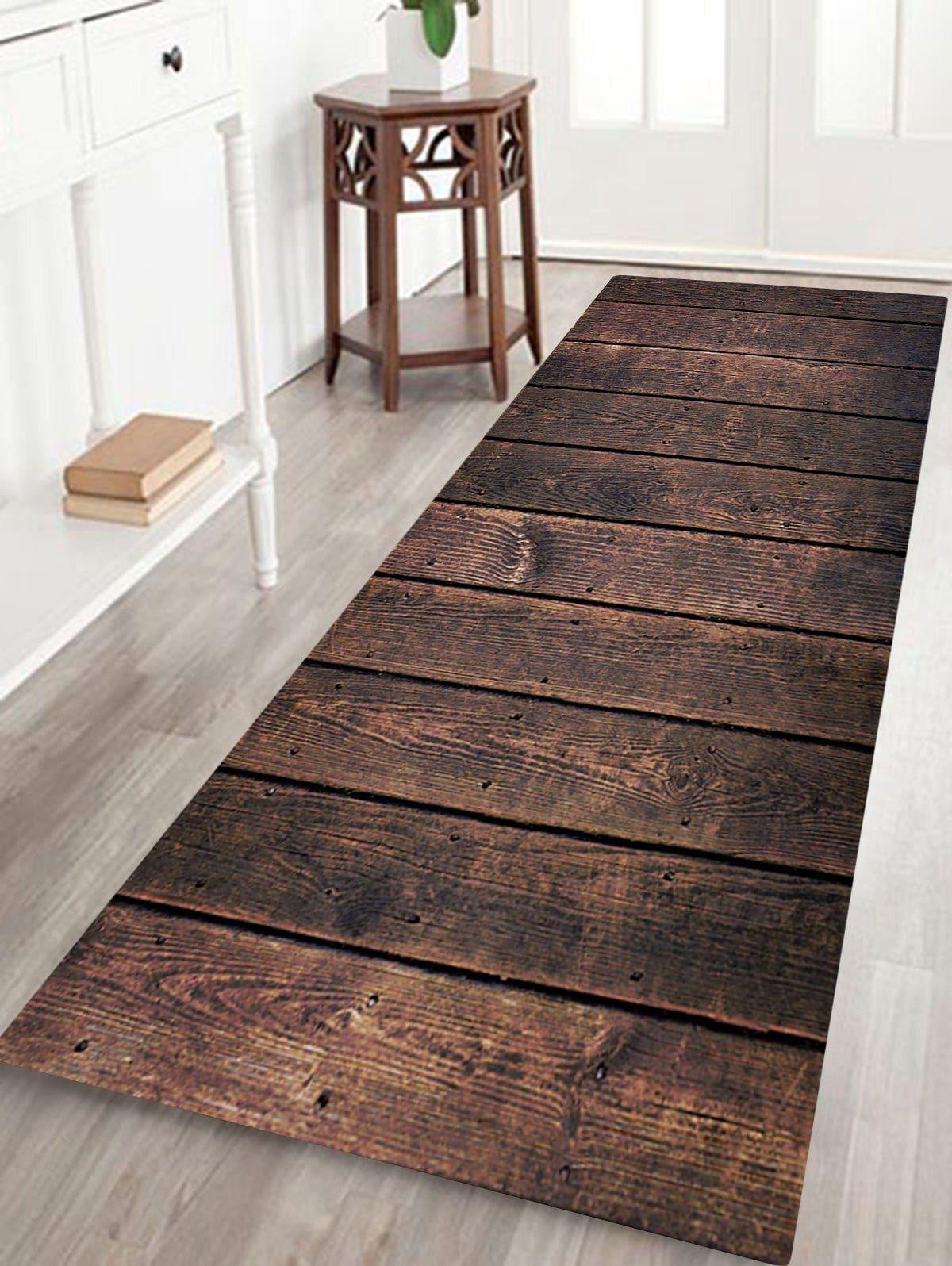 Wood Lath Pattern Anti Skid Water Absorption Area Rug Floor Area