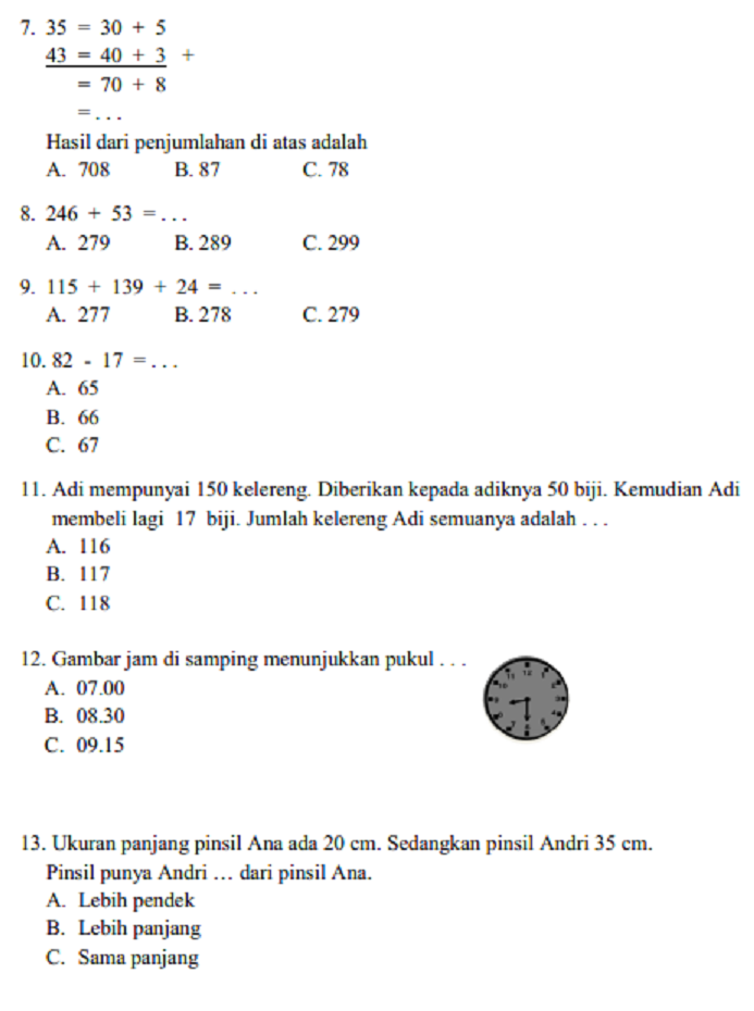 Soal Kelas 2 Sd : kelas, Matematika