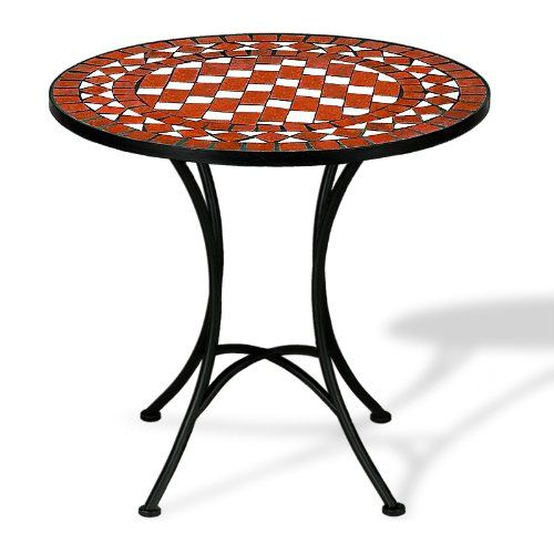 Mosaic Bistro Table With Powder Coated Steel Base Outdoor Round