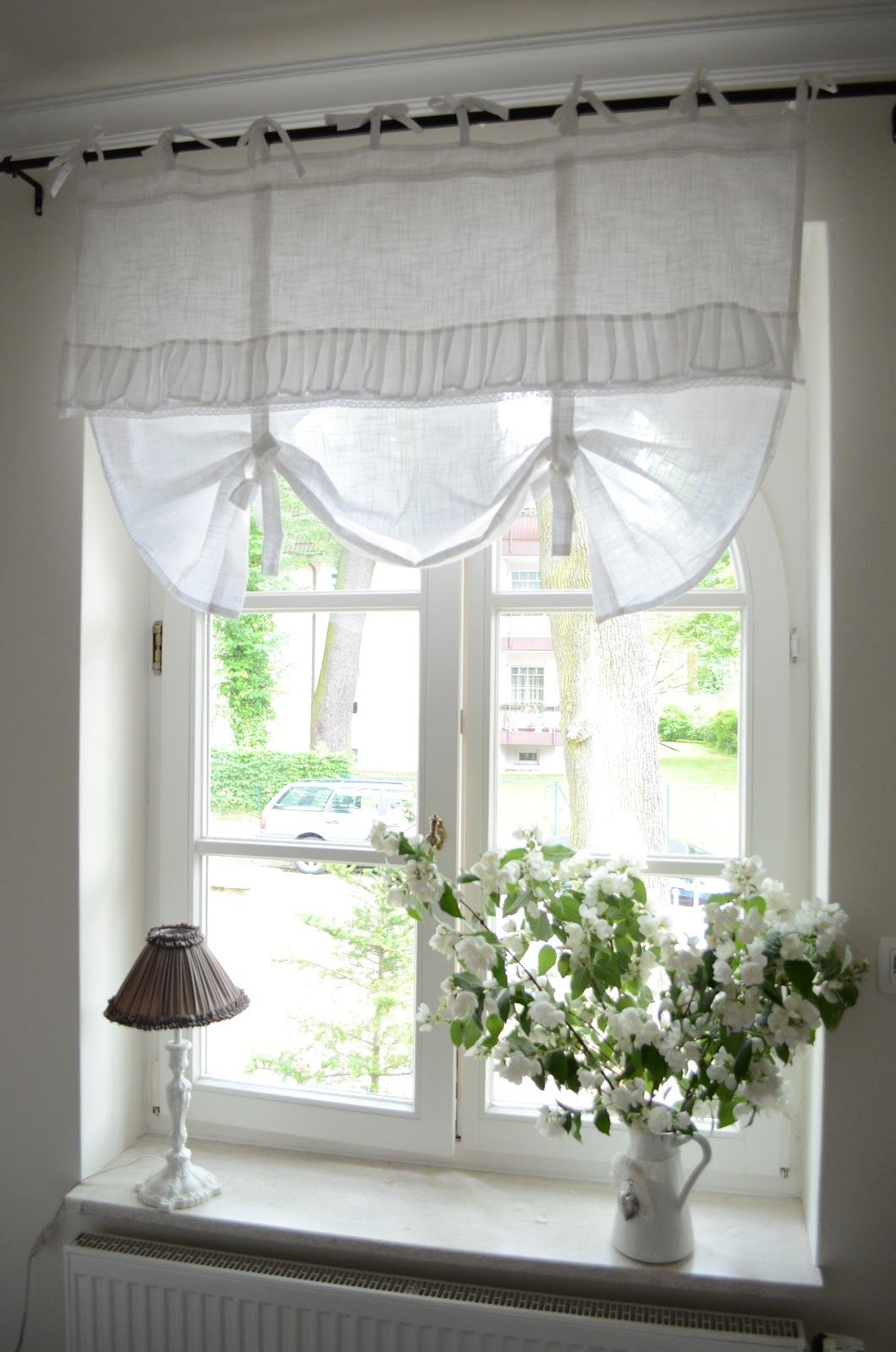 Bedroom Window Treatment White Grey Black Chippy Shabby Chic Whitewashed Cottage French Country Rustic Swedish Decor Idea