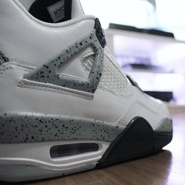 df6ec46cfdde0c Go check out my Air Jordan 4 Retro OG White Cement on feet and close ...