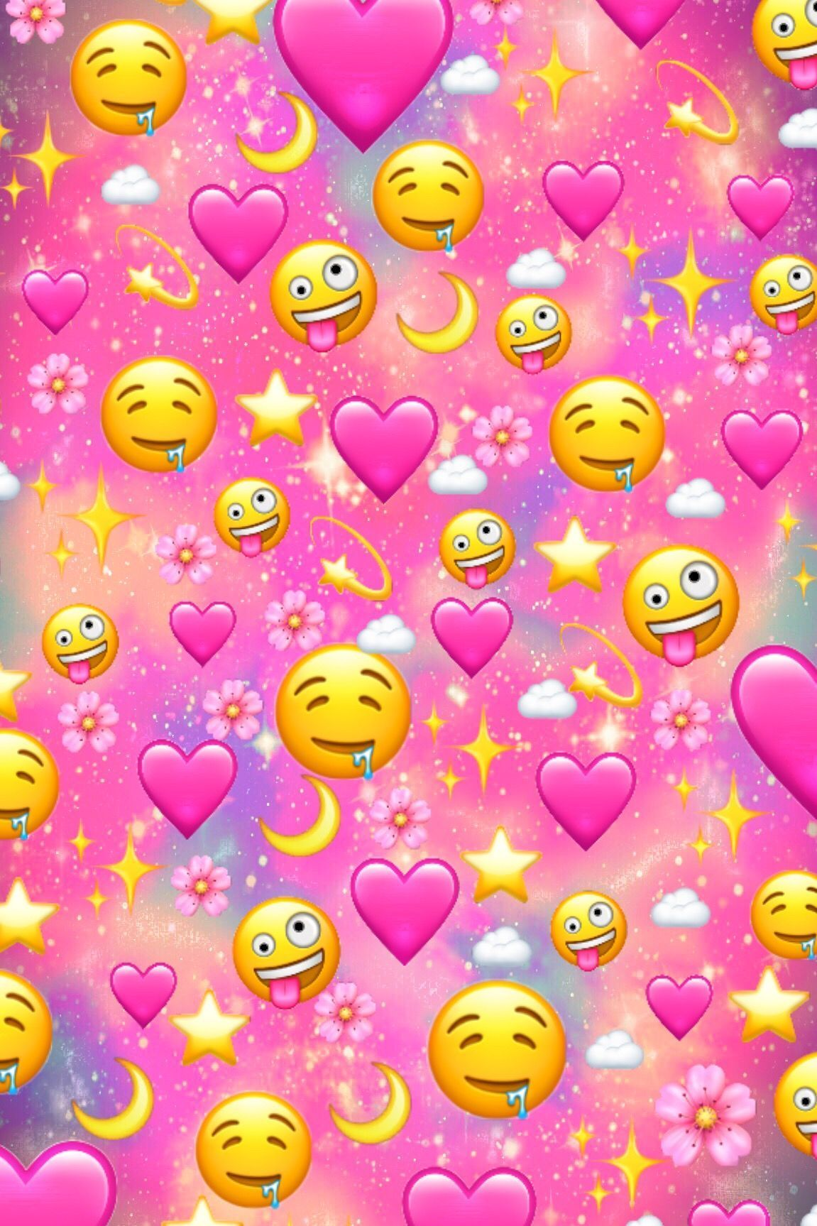 Love Hearts And Emojis Galaxy Wallpaper In 2020 Emoji Wallpaper Iphone Pink Wallpaper Iphone Wallpaper Iphone Cute