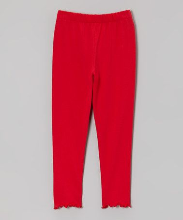 Take a look at this Red Lettuce-Edge Leggings - Toddler & Girls by Mis-Tee-V-Us on #zulily today!