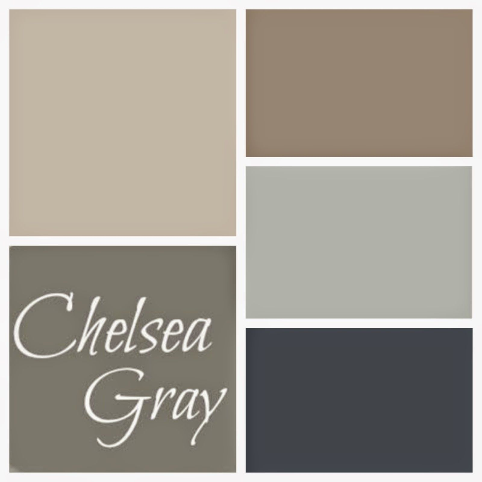 Top left is bm smokey taupe top right bm weimaraner middle right sw comfort gray bottom right Benjamin moore taupe exterior