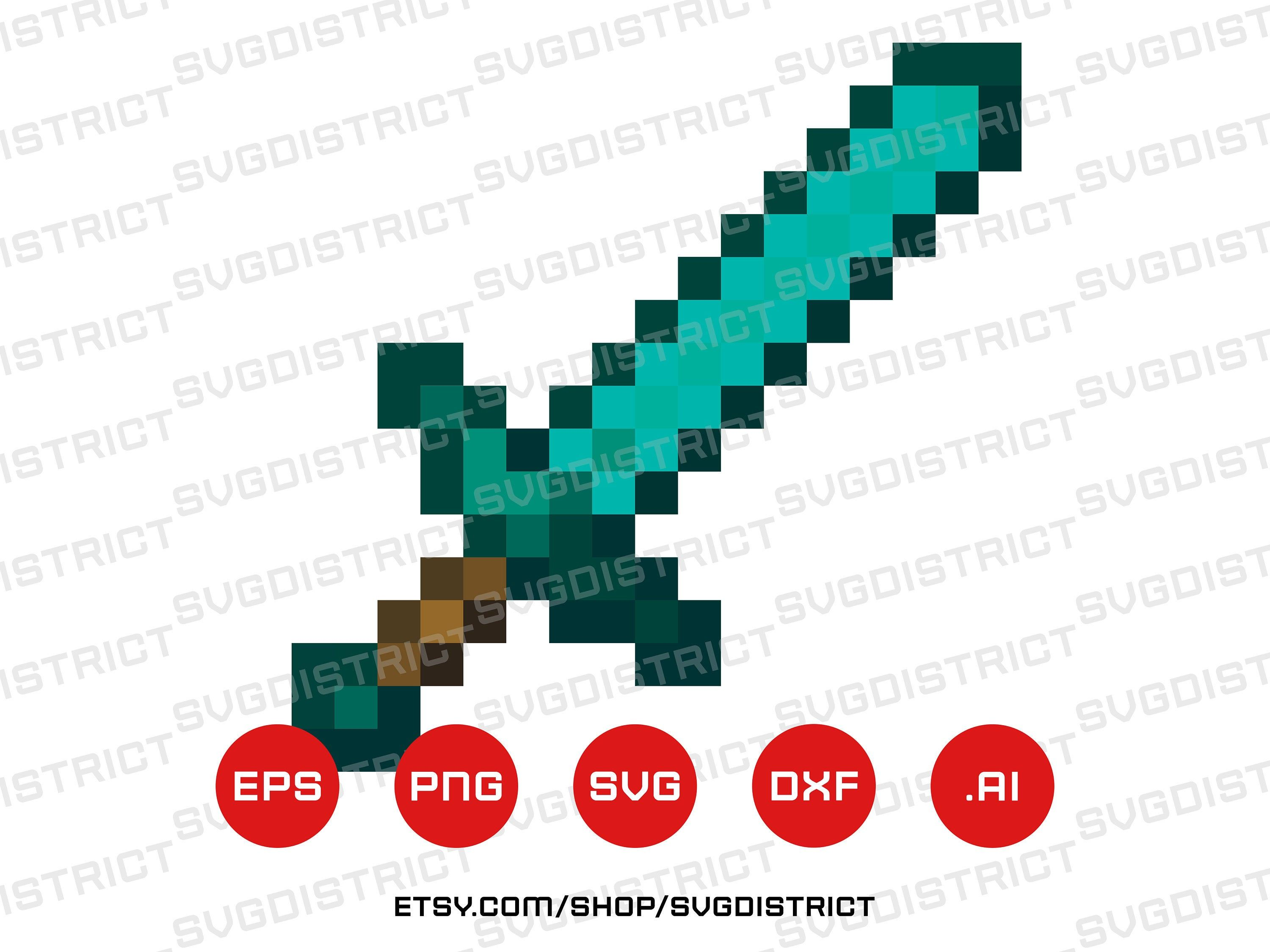 Minecraft Diamond Sword Svg Vector Digital Download Eps Ai Dwf Game Logo Gaming Svg Playstation Xbox Hunger Games Cartoon Isometric Shapes How To Draw Hands Game Logo