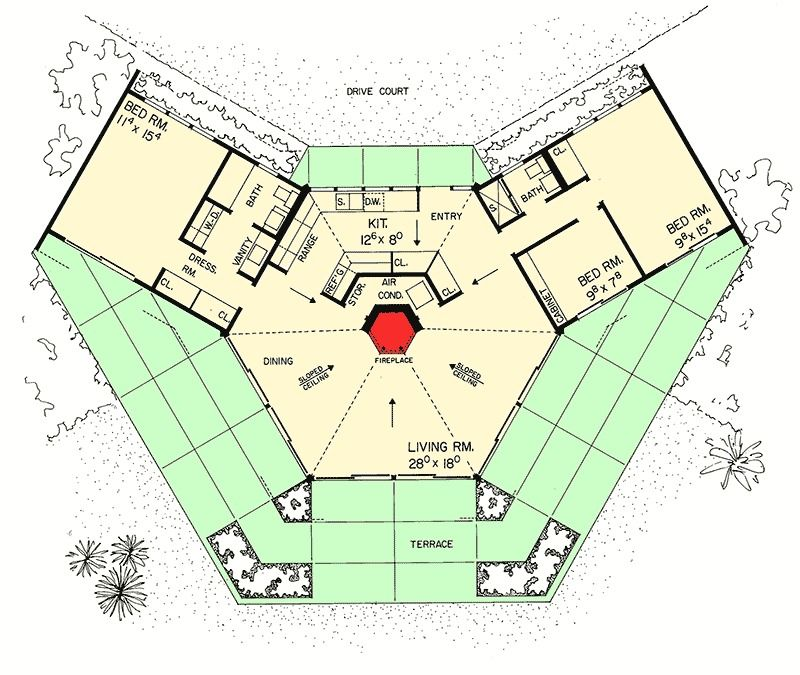 Plan 0867w Unique House Plan With Unique Character Unique House Plans Octagon House Hexagon House