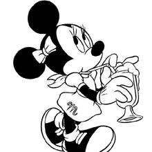 Minnie Mouse Drinking A Drink Coloring Page Disney Coloring