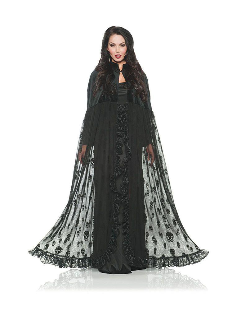 Witches Wizards Deluxe Reversible Midnight Cloak Hood Velvet Black Cape Costume