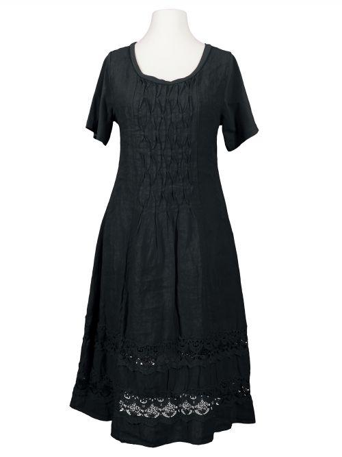 Leinenkleid mit Spitze, schwarz   Leinenkleid, Kleider und ...