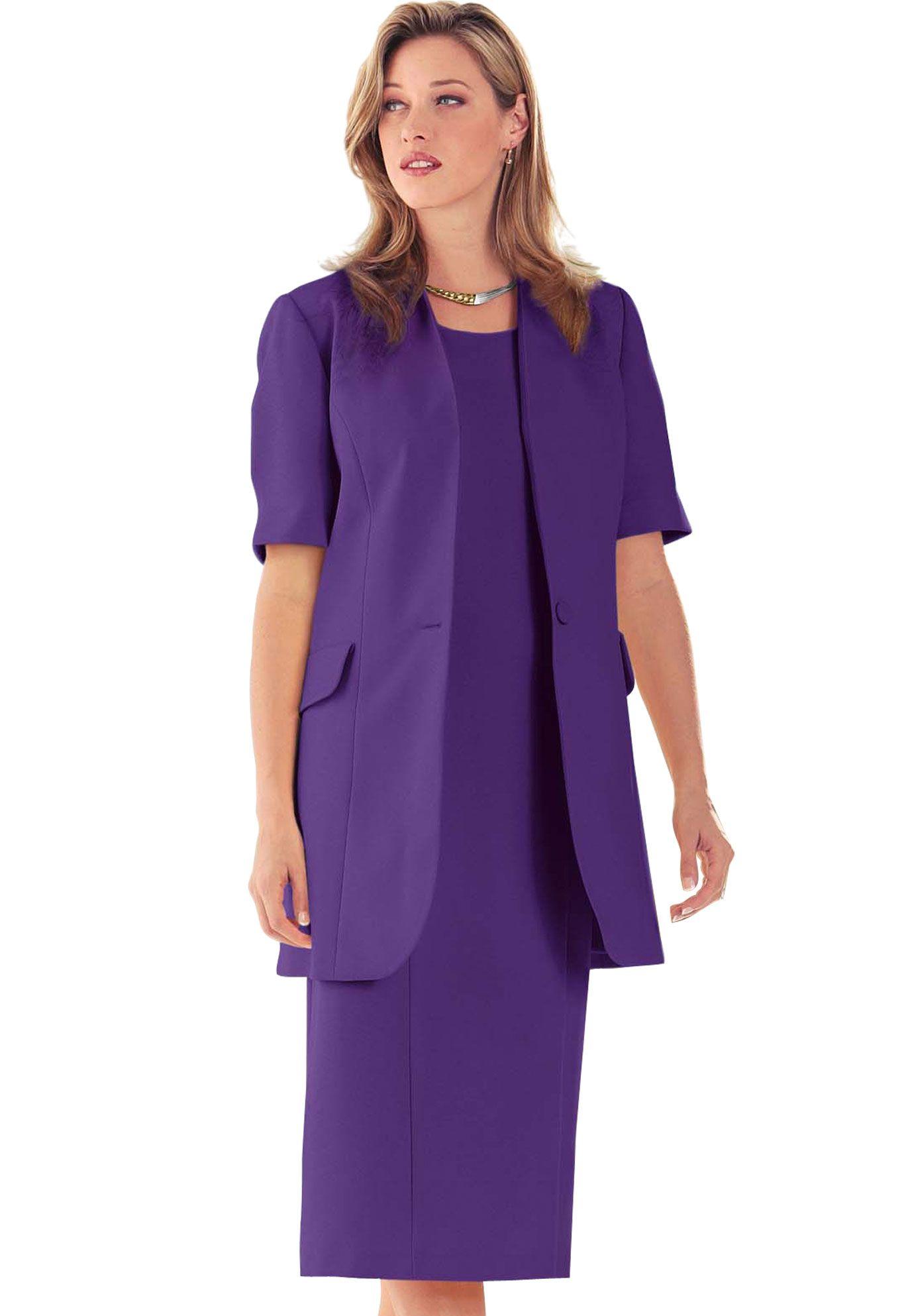 Short Sleeve Sheath Jacket Dress Plus Size Career Dresses