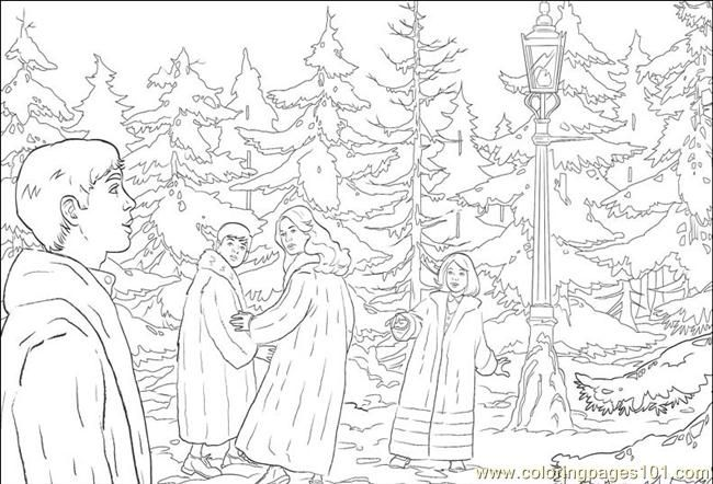 Narnia Coloring Pages Pevenses At Lamppost