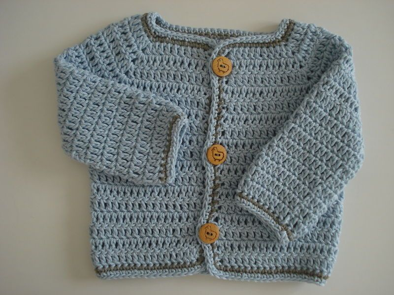 Au Crochet Turoriel Gilet Bébé 1 3 Mois Top Down Le Petit