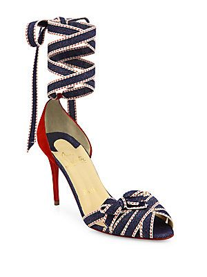 Christian Louboutin Christeriva Denim & Suede Ankle-Wrap D'Orsay Pumps<br>