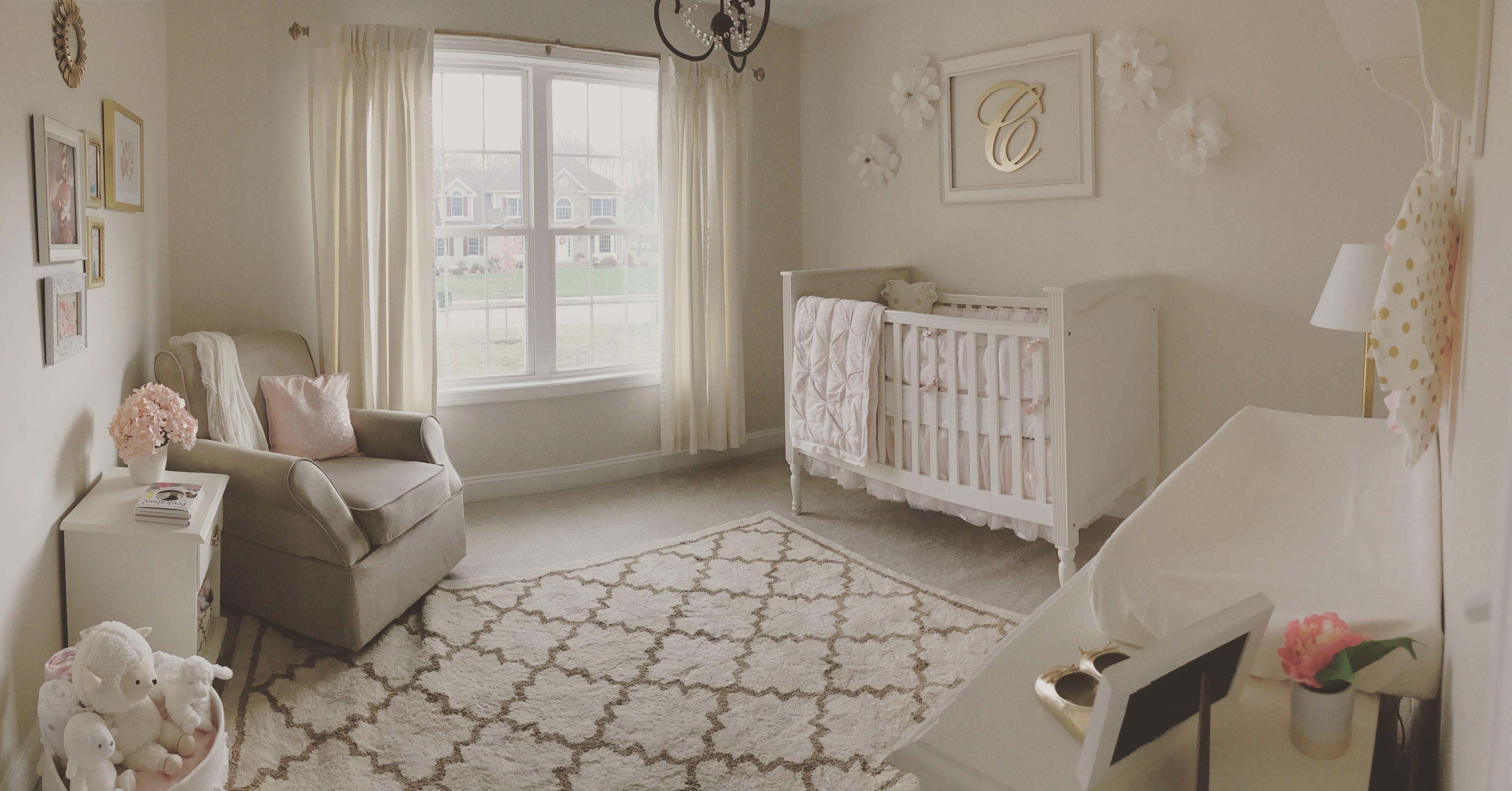 Neutral white, gold, and blush pink nursery. Beige rocker. Glider ...