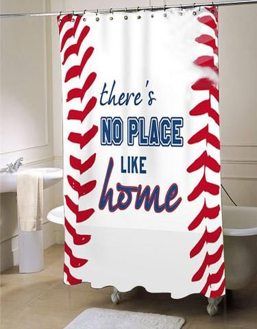 Baseball Shower Curtain Sports Bathroom Decor Fabric Shower