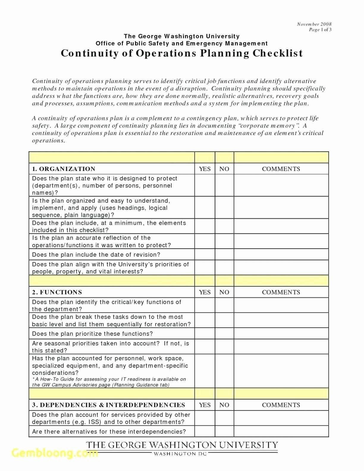 Emergency Operations Plan Template Awesome Unique