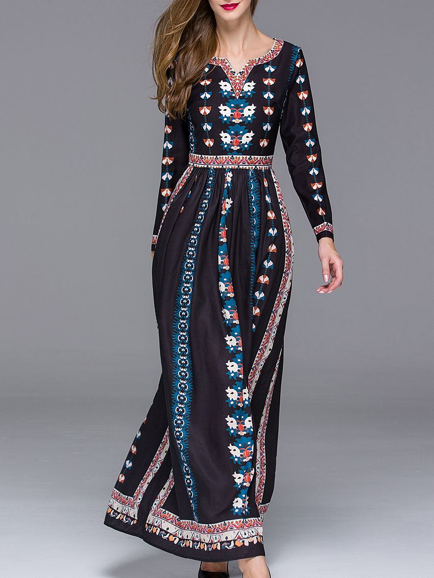 Black v neck long sleeve floral print maxi dress style
