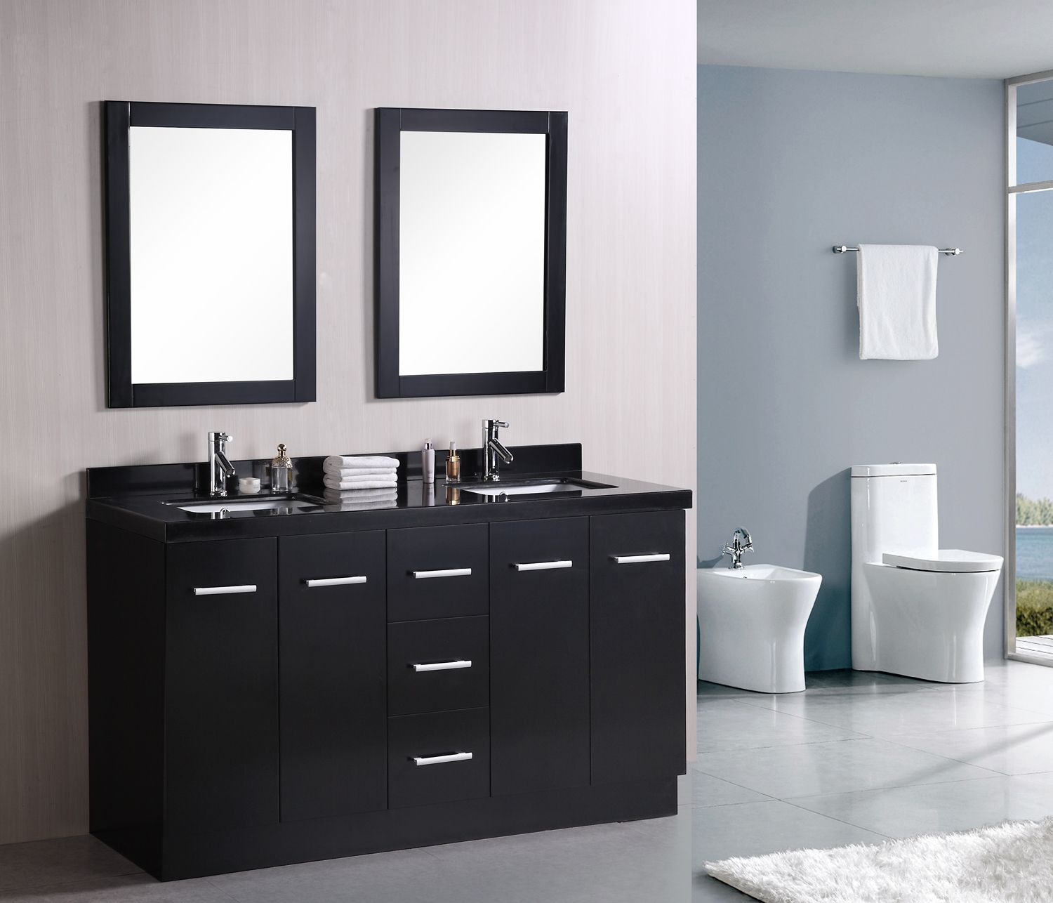 Best 60 Inch Contemporary Double Sink Bathroom Vanity Set In 400 x 300