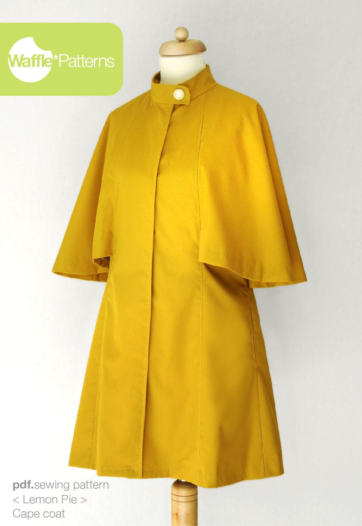 pdf sewing pattern Cape Coat -Lemon Pie- size 34-48 Waffle Patterns ...