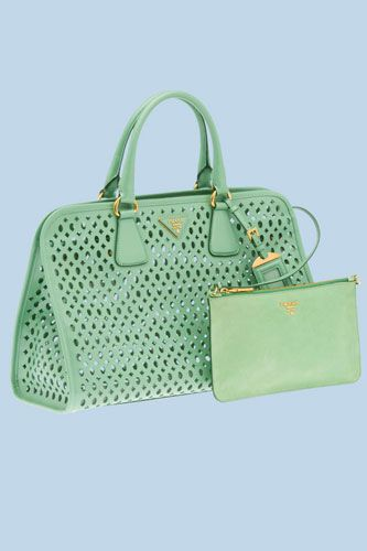 cd27fadad03f Prada Perforated Saffiano Patent Leather Tote I'm obsessed with colors like  this at the moment.